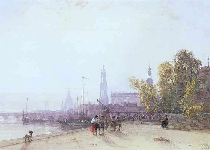 Bridge Spire Greeting Card featuring the painting Dresden by William Wyld