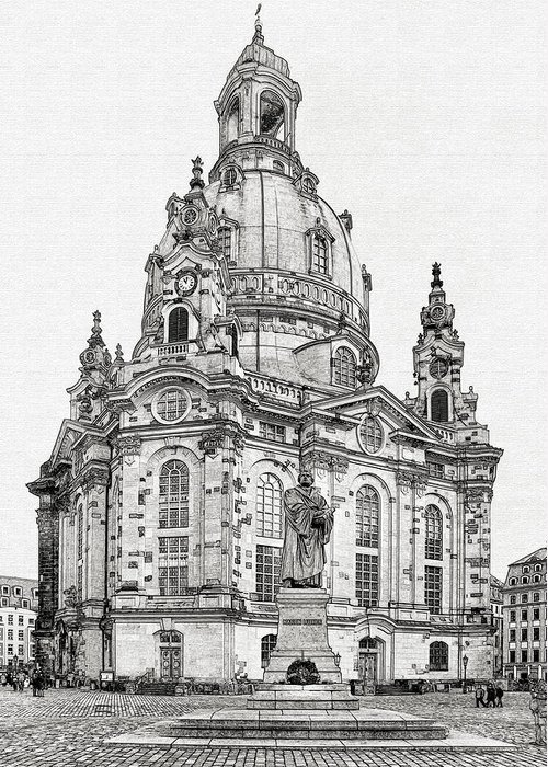 Lutheran Greeting Card featuring the photograph Dresden's Church Of Our Lady - Reminder Of Peace by Christine Till
