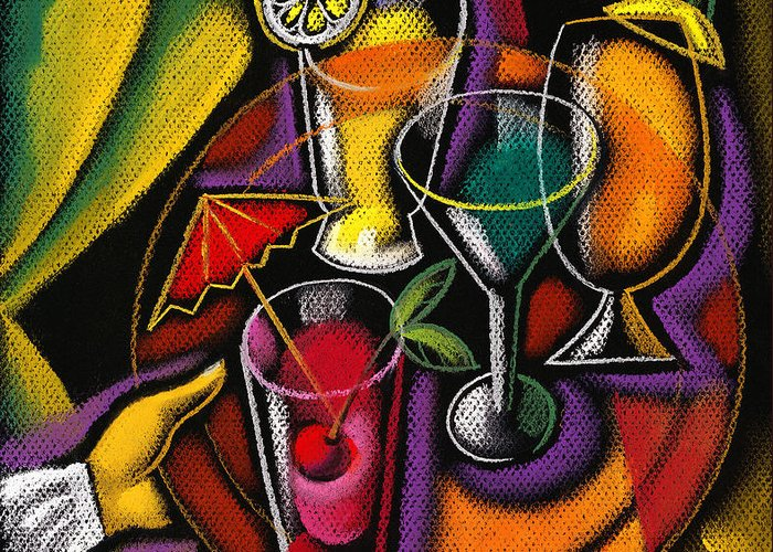 Color Image Concept Day Fish Food And Drink Fork Freshness Glass Grape Healthy Eating Illustration Illustration And Painting Large Group Of Objects Lemon Lifestyle Nature Nobody Nutrition Ocean Organic Outdoors Red Wine Seafood Slice Still Life Summer Sun Sunny Variety Vertical Wine Wine Glass Alcohol Animal Assortment Close-up Color Colour Cutlery Daytime Drawing Food Fresh Fruit Group Health Lifestyles Natural Outside Sea Still-life Summertime Sunshine Water Decorative Art Abstract Greeting Card featuring the painting Drinks by Leon Zernitsky