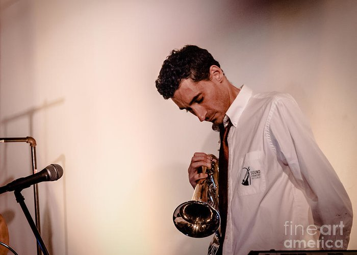 Droid Greeting Card featuring the photograph Droid- Jordan Mcclean On Trumpet by Jim DeLillo
