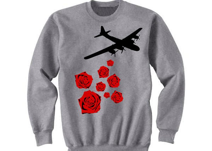 Bouquets Greeting Card featuring the tapestry - textile Drop Bouquets Not Bombs Custom Painted Crewneck Sweatshirt by Joseph Boyd