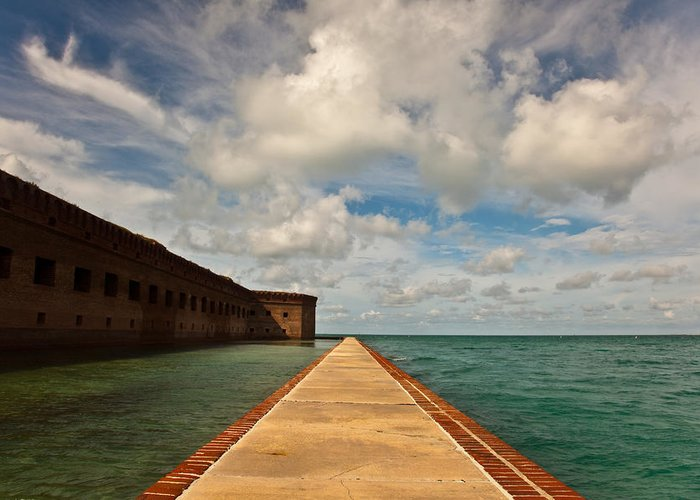 Dry Tortugas National Park Greeting Card featuring the photograph Dry Tortugas Sea Wall by Patrick Flynn