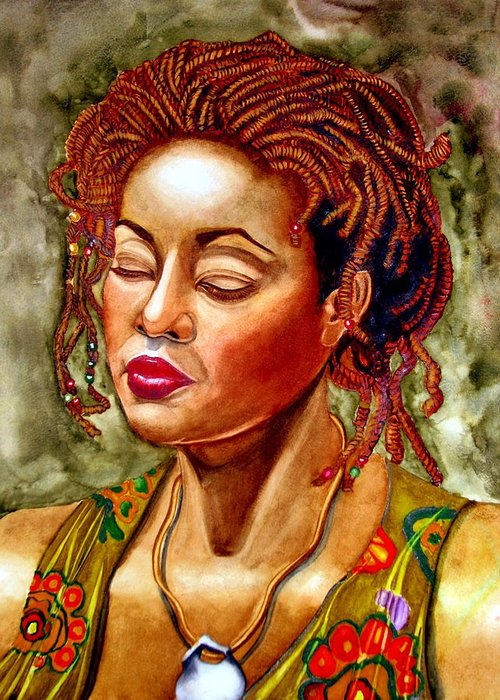African American Woman Greeting Card featuring the painting Du Miel Honey by Emmanuel Turner