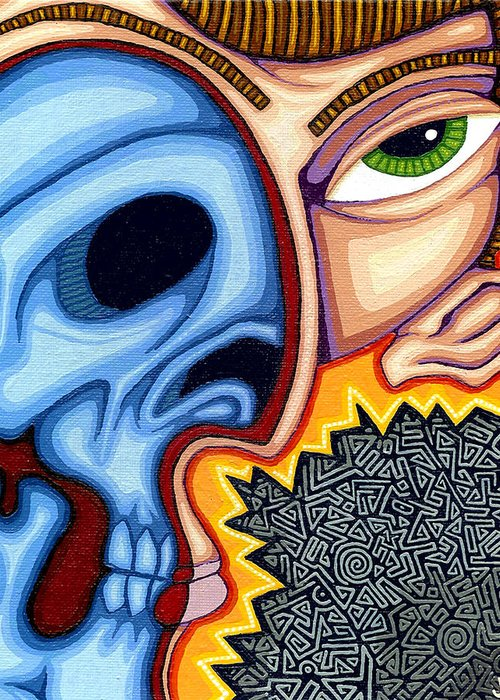 Skull Greeting Card featuring the painting Duality by Jason Hawn