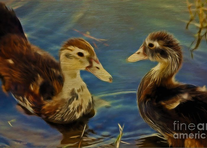 Ducklings Mixed Media Greeting Cards