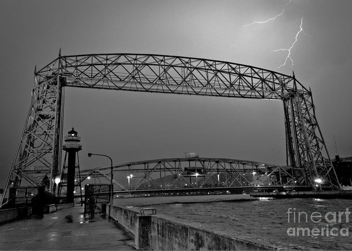 Lift Bridge Greeting Card featuring the photograph Duluth Lift Bridge Under Lightning by Ever-Curious Geek