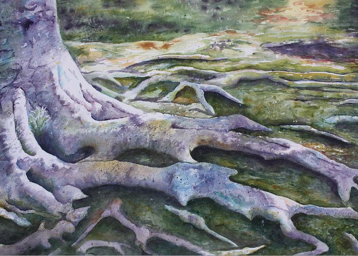 Tree Roots Greeting Card featuring the painting Dunbar Cave Roots by Patsy Sharpe