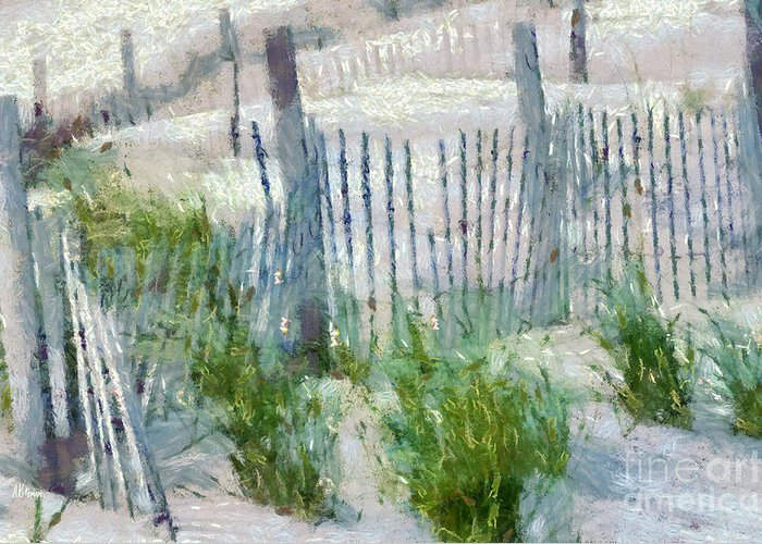 Fences Greeting Card featuring the painting Dune Fences At Cape Hatteras National Seashore by Anne Kitzman