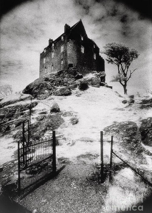 Duntrune; Architecture; Ruin; Ghostly; Eerie; Bleak; Hill; Haunted House Greeting Card featuring the photograph Duntroon Castle by Simon Marsden
