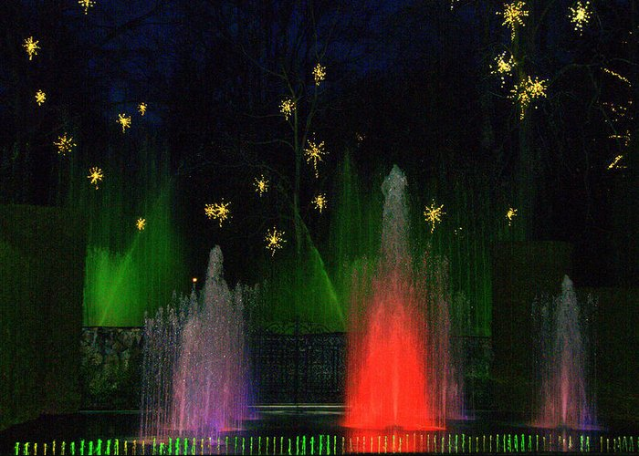 Greeting Card featuring the digital art Dupont Gardens Singing Fountain by Aron Chervin