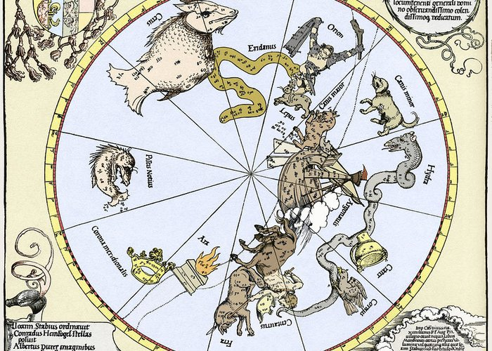 Star Chart Greeting Card featuring the photograph Durer's Celestial Globe, 1515 by Sheila Terry