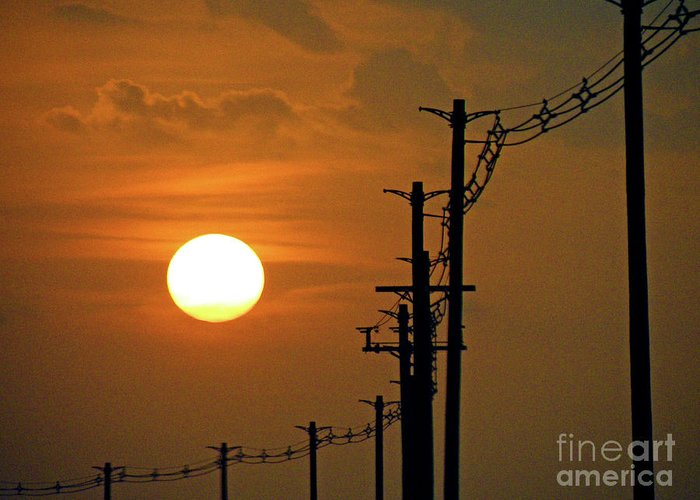 Sun Greeting Card featuring the photograph Dusk With Poles by Joe Jake Pratt