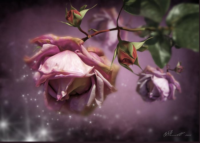Anniversary Greeting Card featuring the digital art Dusky Pink Roses by Svetlana Sewell
