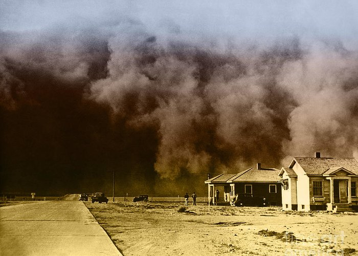 Color Greeting Card featuring the photograph Dust Storm, 1930s by Omikron