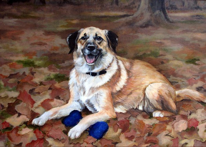 Dog Greeting Card featuring the painting Dutch Shepherd by Sandra Chase