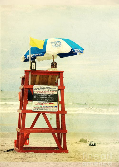 Beach Greeting Card featuring the photograph Duty Time by Susanne Van Hulst