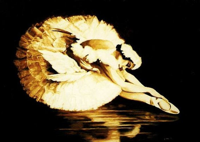 Ballet Greeting Card featuring the painting Dying Swan by Yvette Mey