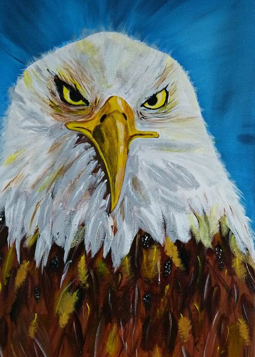 Acrylic On Canvas Greeting Card featuring the painting Eagle by Ismeta Gruenwald
