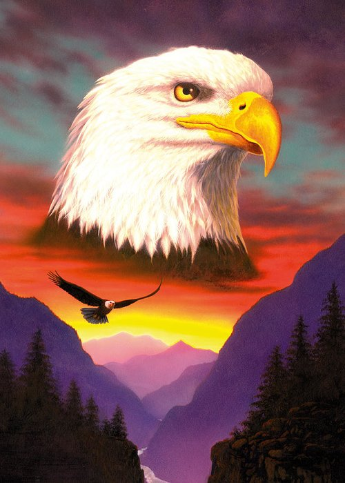 Animal Greeting Card featuring the photograph Eagle by MGL Studio - Chris Hiett