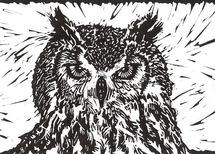 Owl Greeting Card featuring the mixed media Eagle Owl by Julia Forsyth