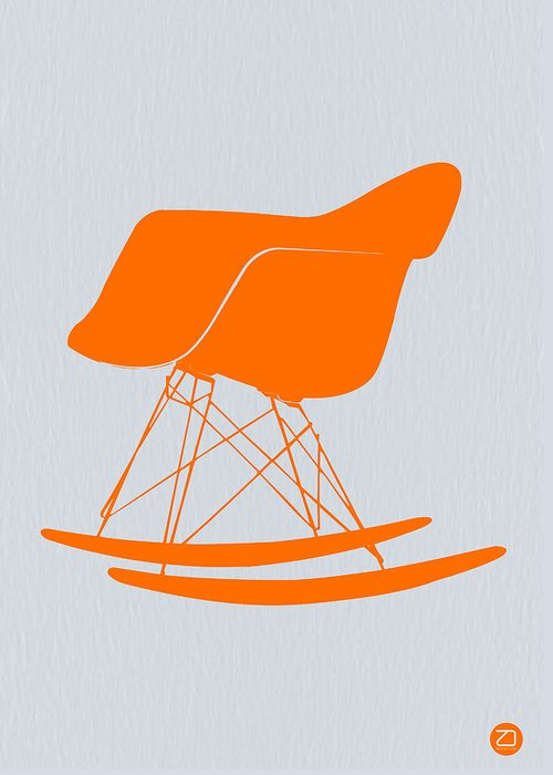 Eames Chair Greeting Card featuring the photograph Eames Rocking Chair Orange by Naxart Studio