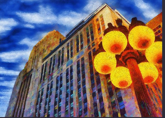 Architecture Greeting Card featuring the painting Early Evening Lights by Jeff Kolker