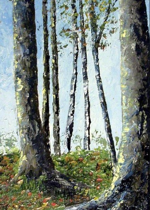 Trees Greeting Card featuring the painting Early fall by Tami Booher