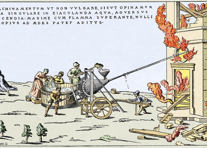 Building Greeting Card featuring the photograph Early Firefighting Equipment, 1569 by Sheila Terry