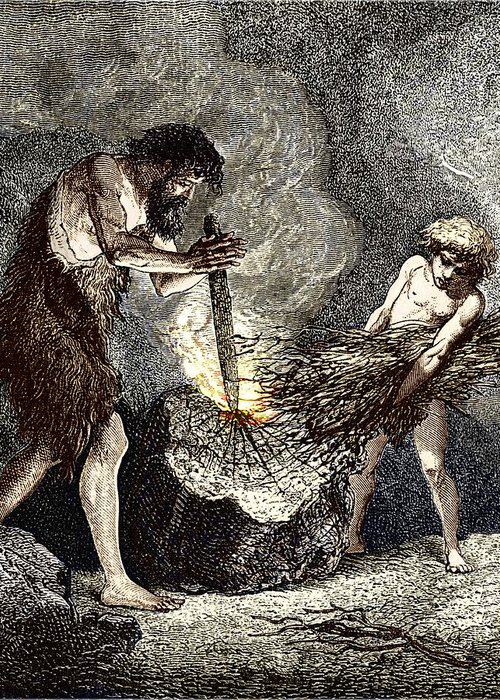 Human Greeting Card featuring the photograph Early Humans Making Fire by Sheila Terry