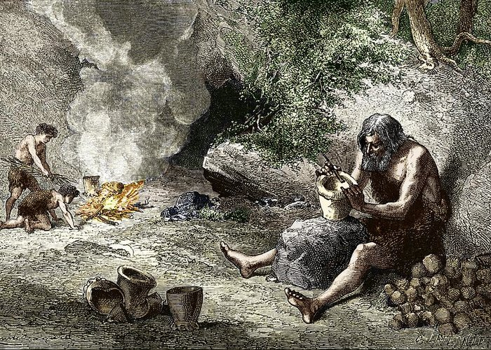 Human Greeting Card featuring the photograph Early Humans Making Pottery by Sheila Terry