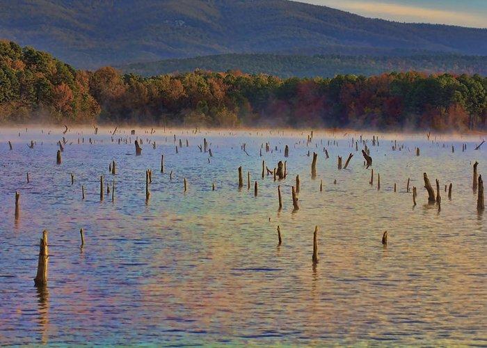 Lake Wilhelmina Greeting Card featuring the photograph Early Morning Color Of Lake Wilhelmina-arkansas by Douglas Barnard