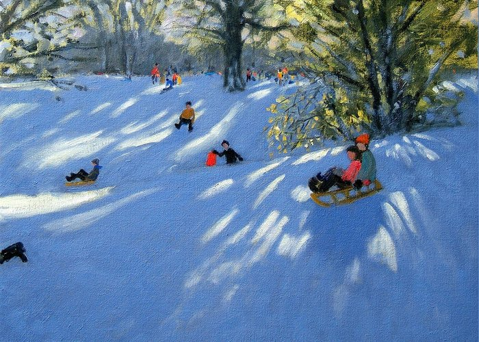 Sledging Greeting Card featuring the painting Early Snow by Andrew Macara