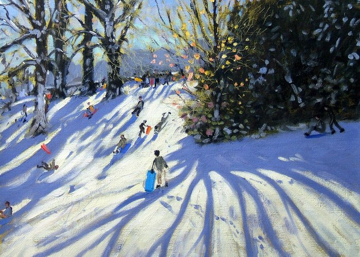 Sledge Greeting Card featuring the painting Early Snow Darley Park by Andrew Macara