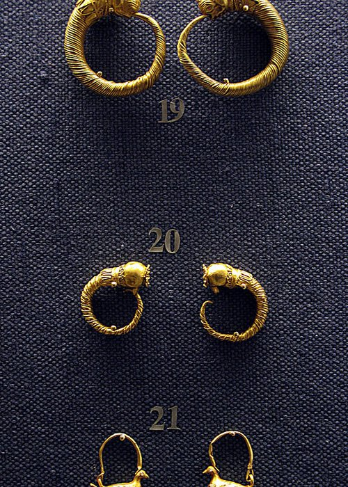 Ancient Earrings Greeting Card featuring the photograph Earrings by Andonis Katanos