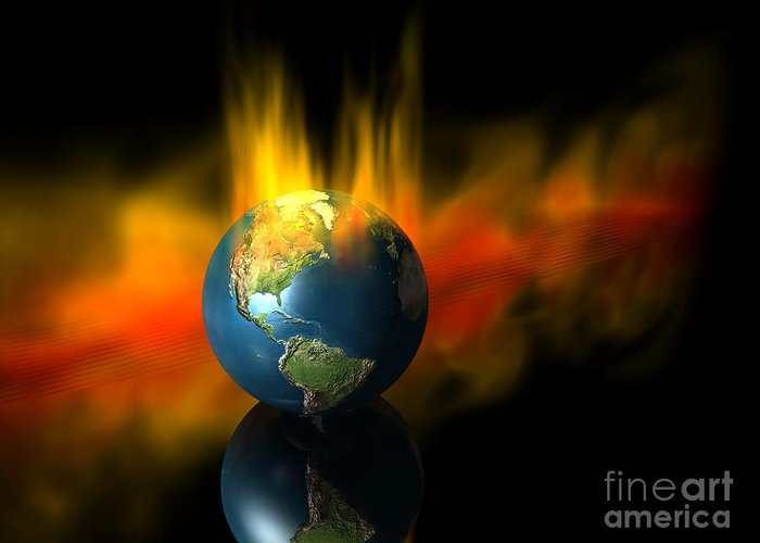 Earth Greeting Card featuring the digital art Earth And Oil Fire by Jason Leader