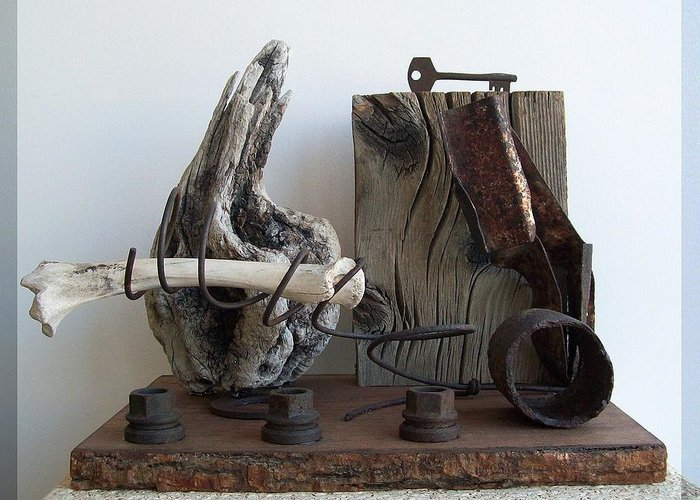 Sculpture Greeting Card featuring the sculpture Earth Radio by Snake Jagger