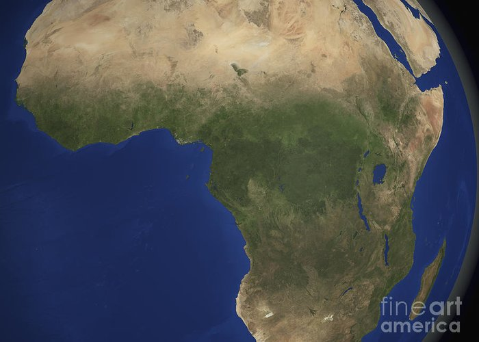 Country Greeting Card featuring the photograph Earth Showing Landcover Over Africa by Stocktrek Images