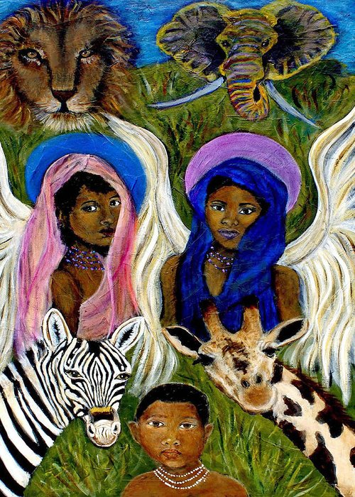 Africa Greeting Card featuring the painting Earthangels Abeni And Adesina From Africa by The Art With A Heart By Charlotte Phillips