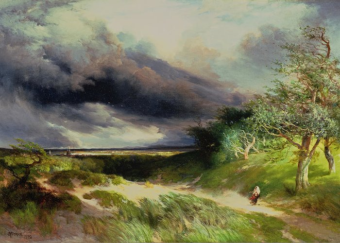 East Hampton Greeting Card featuring the painting East Hamptonlong Island Sand Dunes by Thomas Moran