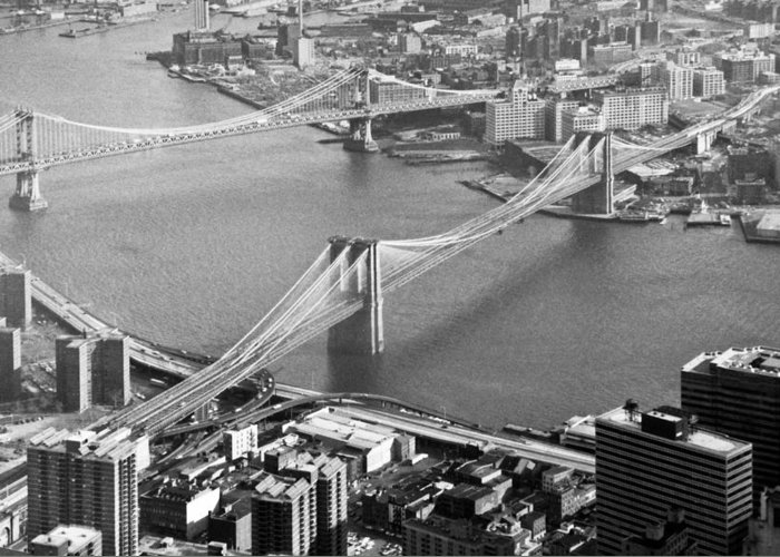 1980s Greeting Card featuring the photograph East River Bridges New York by Gary Eason