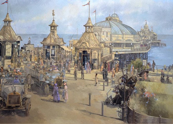 Seaside; Sea; Pier; Dome; East Sussex; Leisure; Recreation; Day Trip; Eastbourne Greeting Card featuring the painting Eastbourne by Peter Miller