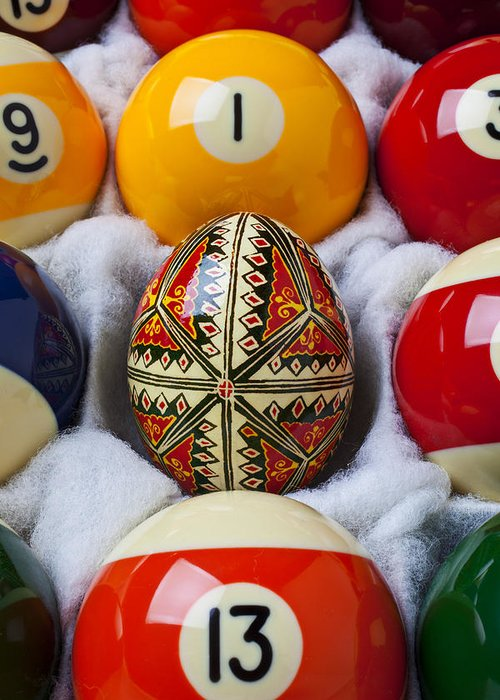 Easter Egg Greeting Card featuring the photograph Easter Egg Among Pool Balls by Garry Gay