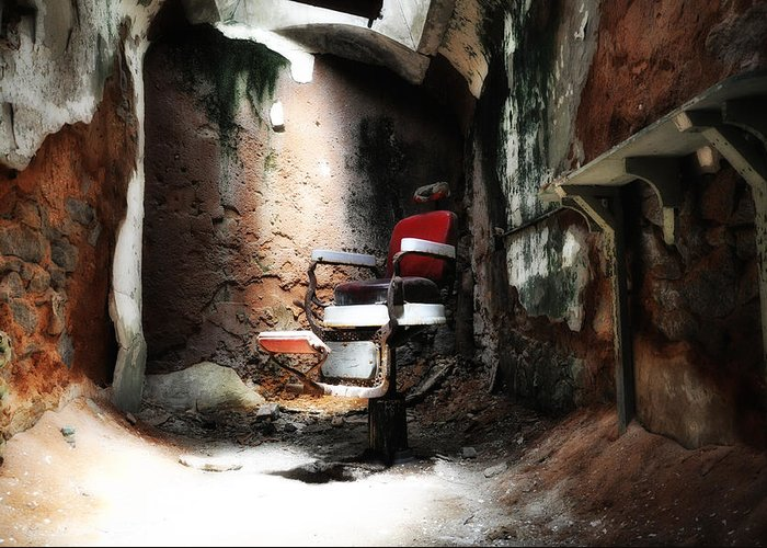 Eastern State Penitentiary - Barber's Chair Greeting Card featuring the photograph Eastern State Penitentiary - Barber's Chair by Bill Cannon