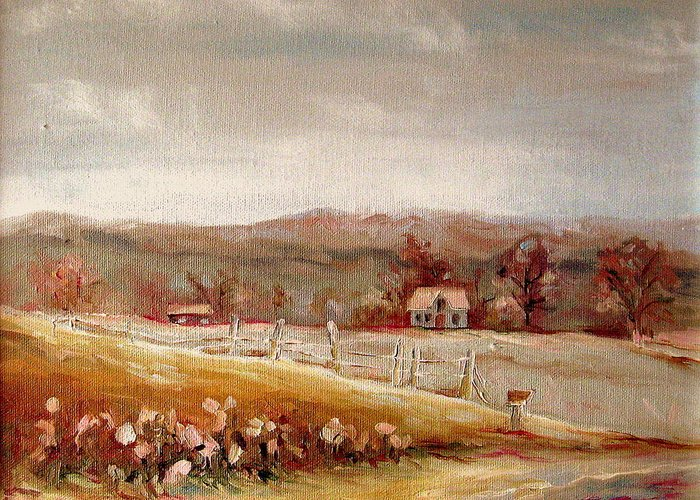 Landscape Greeting Card featuring the painting Eastern Townships Quebec Painting by Carole Spandau