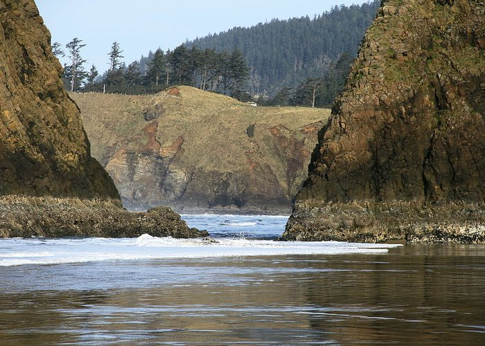 Seascape Greeting Card featuring the photograph Ecola From Chapman Pt. by Steven A Bash
