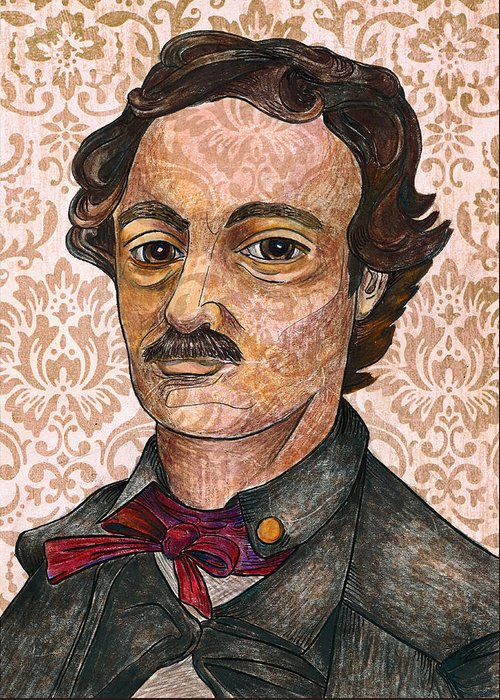 Edgar Allan Poe Greeting Card featuring the drawing Edgar Allan Poe After The Thompson Daguerreotype by Nancy Mitchell