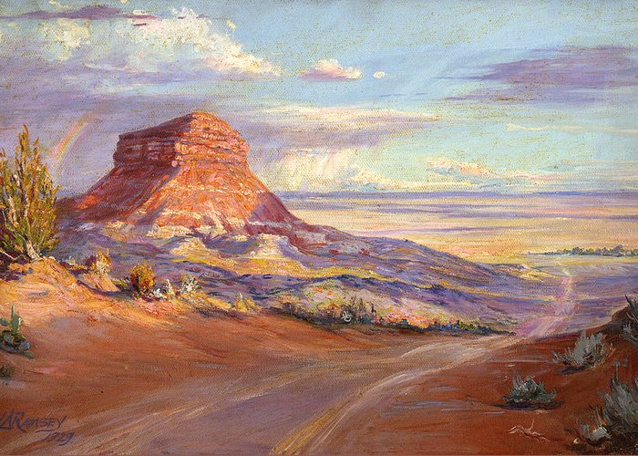 Deserts Greeting Card featuring the painting Edge Of The Desert by Lewis A Ramsey