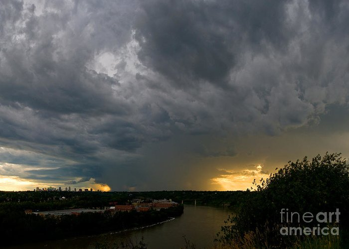 Summer Storm Clouds Greeting Card featuring the photograph Edmonton Storm Clouds by Terry Elniski