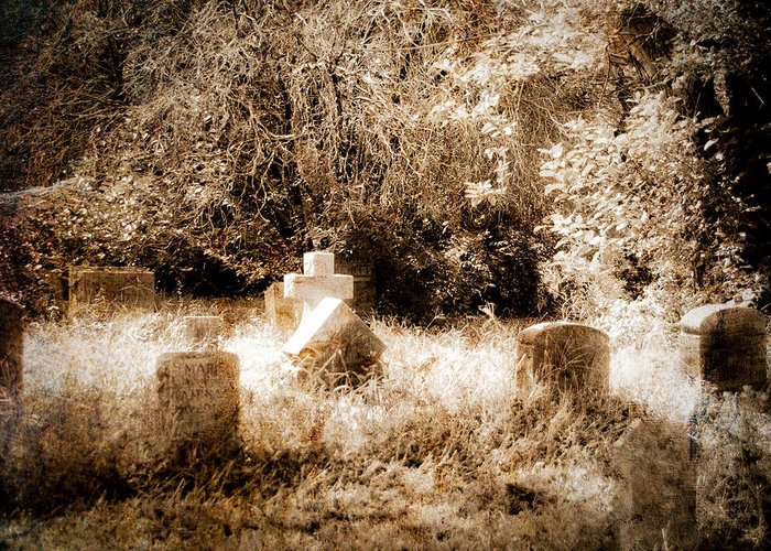 Cemetery Greeting Card featuring the photograph Eerie Cemetery by Sonja Quintero
