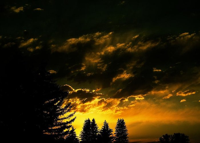 Sunset Greeting Card featuring the photograph Eerie Evening by Kevin Bone